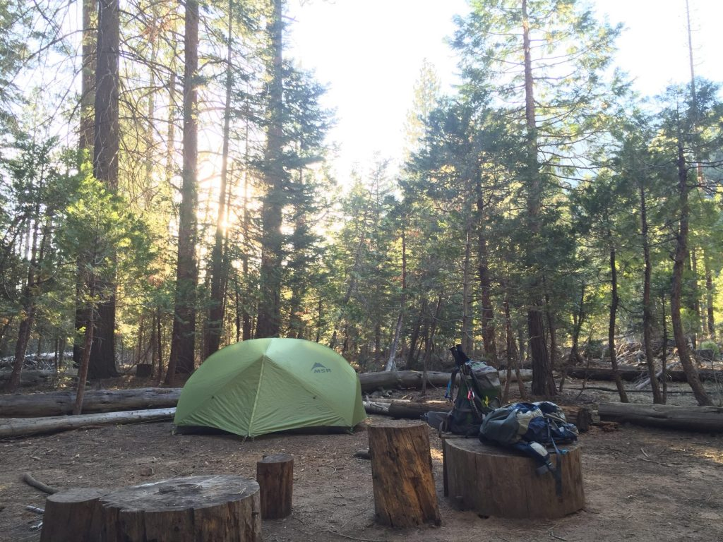 camp at Little Yosemite Valley