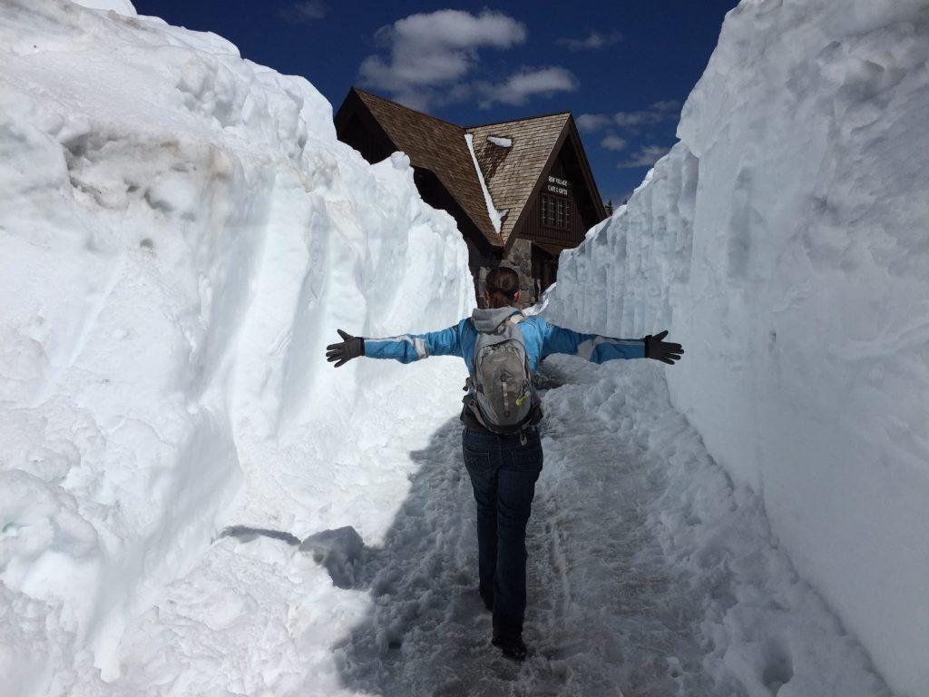 walking through snow to visitor center